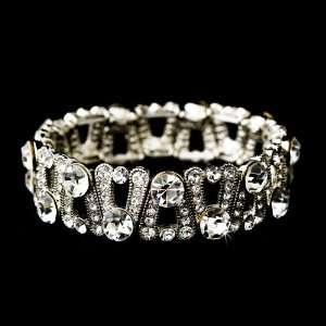 Silver Austrian Crystal Rhinestone Stretch Bracelet Jewelry
