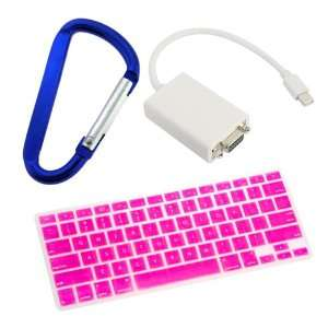 GTMax Pink Silicone Keyboard Cover + Mini DisplayPort to