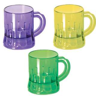 Set Three Mardi Gras Party Plastic Mug Shot Glasses