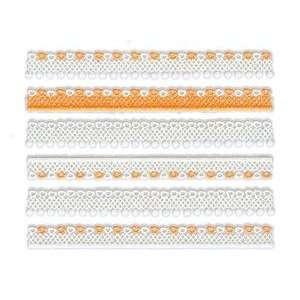 Glitter White & Orange Heart/Dot Lace Trim Strip Nail Stickers/Decals