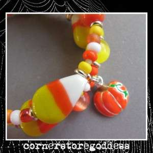 Cornerstoregoddess Halloween Candy Corn Halloween Bracelet EHAG