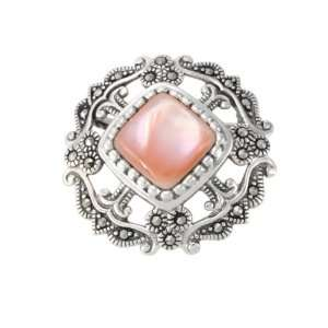 Sterling Silver Marcasite Open Work Pink Shell Pin Jewelry