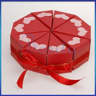 10 Slice Red Cake Slice Box Baby Shower Wedding Favor Box Centerpiece