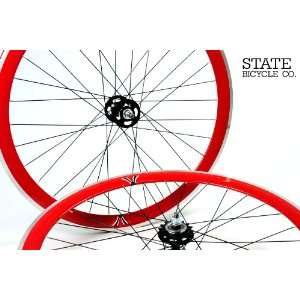 State Bicycle Co.   Red Fixed Gear DEEP PROFILE Wheel Set