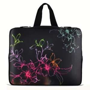 Flower 17 inch Laptop Bag Sleeve Case with Hidden Handle for 16 17