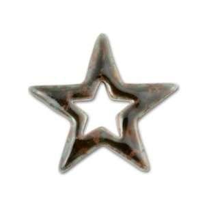 Large Star Outline Porcelain Drop   Moss Agate Arts