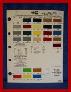 1977 BUICK Auto Paint Chip Colors Sheet   PPG Ditzler