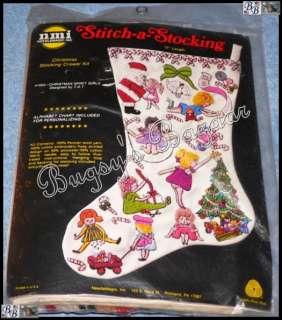 CHRISTMAS SPIRIT   GIRLS Crewel Stitchery Stocking Kit