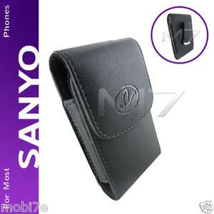 BLACK PREMIUM LEATHER POUCH CASE for SANYO & ERICSSON PHONES COVER w
