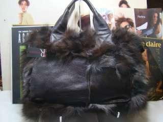 BRAND NEW SONDRA ROBERTS SATCHEL BAG REAL FOX FUR BAG BROWN 3