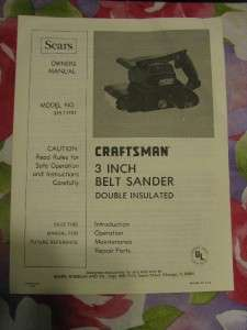 Craftsman 3 Belt Sander Model 315.11721 Owner Manual