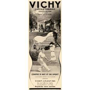 1937 French Ad Travel Vichy France Thermal Spa Tennis   Original Print