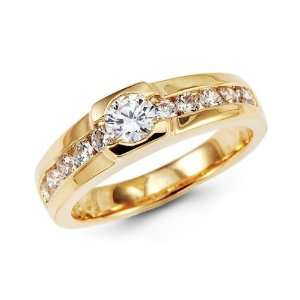 Mens Solid 14k Yellow Gold Wedding Ring Engagement Band CZ