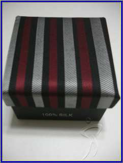 NEW GEORGE MARTIN SILK TIE CUFFLINK HANKY BLACK STRIPES