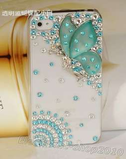 3D Bling *Butterfly* Swarovski Crystal Case Cover For iPhone 4 4G 4S