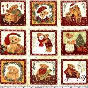 Christmas Teddy Bear Blocks Natural Fabric By The Yard Arts, Crafts