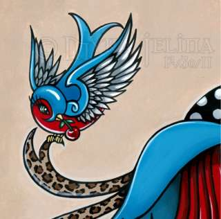 Rockabilly Swallow Tattoo Angel Original PAINTING Emma