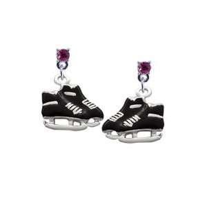 Black Ice Skates Hot Pink Swarovski Post Charm Earrings
