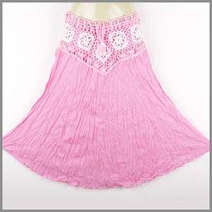sk0101p Hippy Hippie Boho Gypsy Crochet Skirt Long Pink
