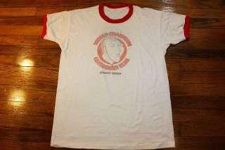 vtg 70s 1975 PETE ROSE / JOHNNY BENCH Cincinnati Reds ringer t shirt