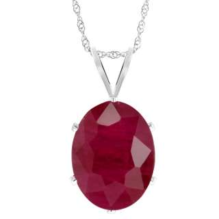 Oval Shape Red Ruby 925 Sterling Silver Pendant with 18 Silver Chain