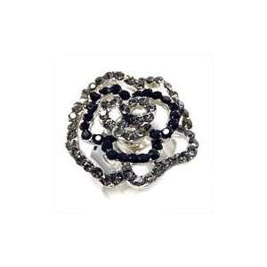Black crystal flower ring rose outline with adjustable