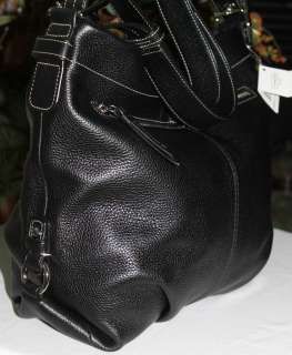 COACH LARGE BLACK PEBBLED LEATHER HOBO BAG PURSE CONVERTIBLE NEW