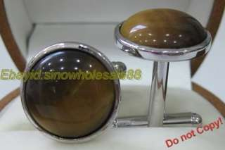 Fashion 18K Gold Plated Tiger eye Cufflinks a16729