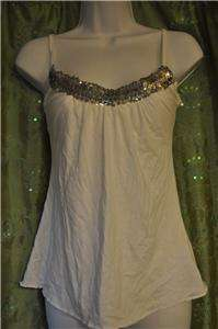 Next Era   NWT   Sz L   White Knit tank top with shelf bra & SEQUINS