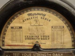 MERCURY ATHLETIC SCALE STRENGTH TESTER 1 CENT COIN OPERATED MACHINE