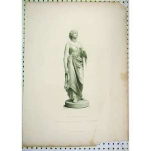 Antique Print Statue Lady Comus Engraved Roffe Home & Kitchen