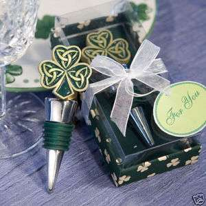 72 Irish Shamrock Celtic Wine Bottle Stopper Favors