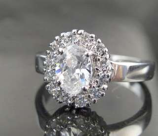 BIG OVAL CZ CUBIC ZIRCONIA COCKTAIL CLUSTER SILVER FLOWER RING 5 FAST