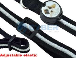 Dog Pet Blue LED Light Flashing Nylon Safety Adjustable Collar Tag