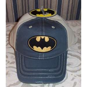 DC Comics BATMAN Logo Flat Distressed Gray Baseball Cap