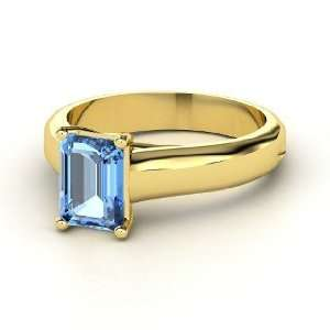 Sleek Emerald Cut Solitaire Ring, Emerald Cut Blue Topaz