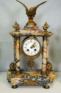 19th Century French Sienna Marble And Gilt Bronze Mantel Clock Set