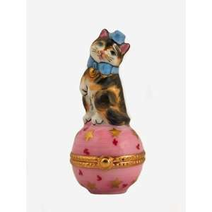 Cute Kitty Cat with a Bow on a Pink Ball French Limoges Box