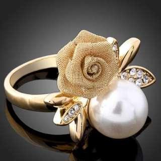 Swarovski Crystal Rose Pearl Yellow Gold GP Finger Ring