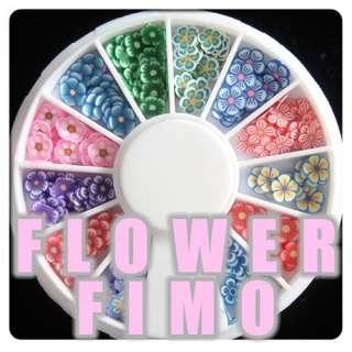 New 120 PCS 3D Flower Fimo Nail Art Tips UV Acrylic Decoration Wheel