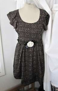 JAPAN Gray CHIFFON Ruffle SLEEVE Bow BELTED Mini DRESS Small S