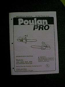 POULAN PRO CHAIN SAW MODELS 180 205 225 235 OWNERS MANUAL