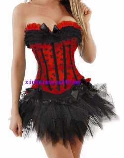 Sexy Red Gothic Moulin Rouge Costume Corset +Skirt