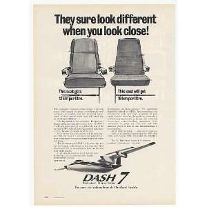 1974 de Havilland Dash 7 Airplane Seat Efficiency Print Ad