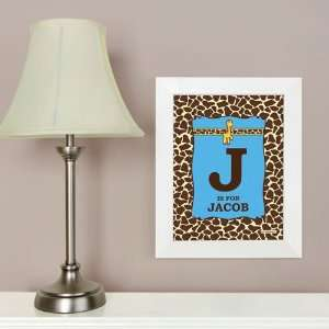 Giraffe Boy   8.5 x 11 Nursery Wall Art   Personalized Baby Shower