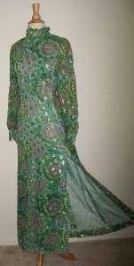 Vtg ROSSELLA OF ROME Green Chiffon Maxi Dress GOWN L