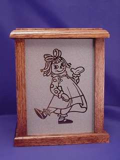 RAGGEDY ANN ETCHED GLASS NIGHT LIGHT GIRLS ROOM ~ ANDY