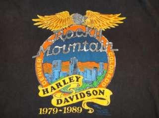 80s HARLEY DAVIDSON DEALER t shirt 1989 ROCKY MOUNTAIN HARLEY L