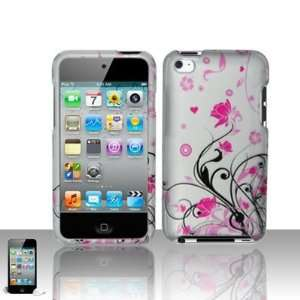 Pink Flower with Black Vine Rubber Texture Apple Ipod