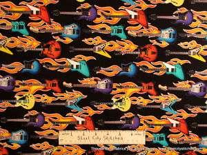 Robert Kaufman Guitars Rock N Roll Flames Fabric Yard